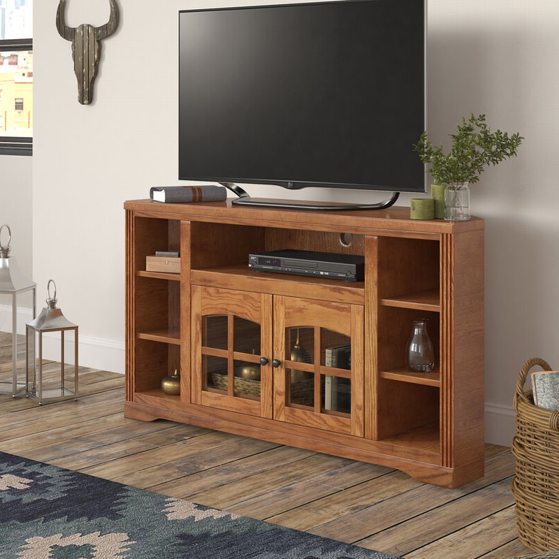 """Loon Peak® Glastonbury Solid Wood Corner Tv Stand For Tvs Intended For Glass Doors Corner Tv Stands For Tvs Upto 42"""" (View 1 of 20)"""