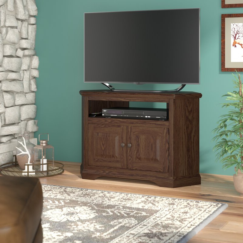"""Loon Peak® Glastonbury Solid Wood Corner Tv Stand For Tvs With Corner Tv Stands For Tvs Up To 43"""" Black (View 3 of 20)"""