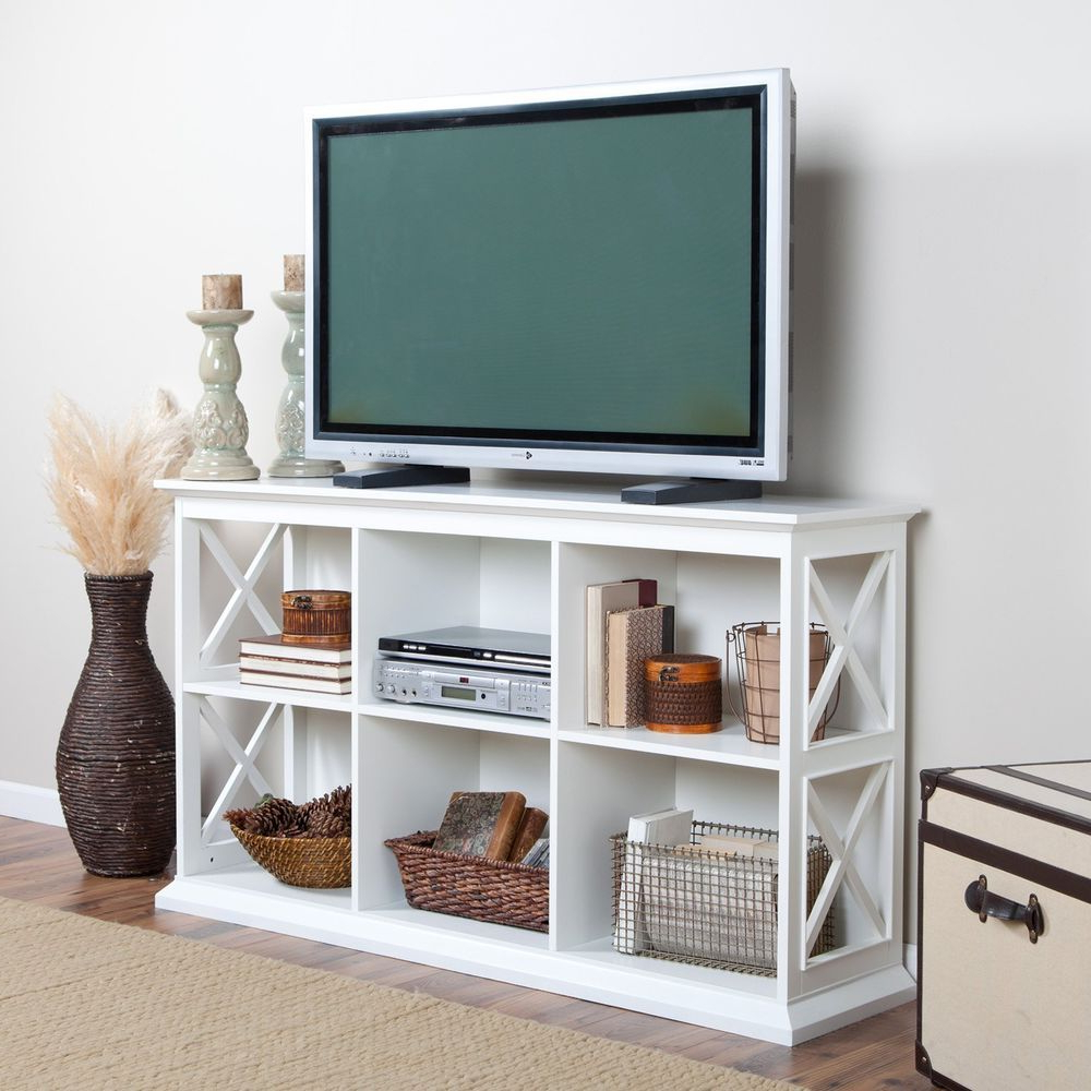 """Low Cubby 2 Shelf Bookcase Console Table 60"""" Tv Media With Wood Corner Storage Console Tv Stands For Tvs Up To 55"""" White (View 18 of 20)"""