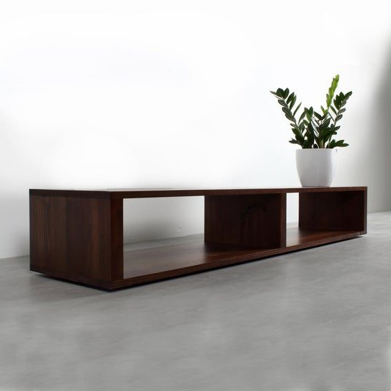 Low Minimalist Extra Wide Tv Stand, Contemporary Media Intended For Wide Tv Stands Entertainment Center Columbia Walnut/black (View 5 of 20)