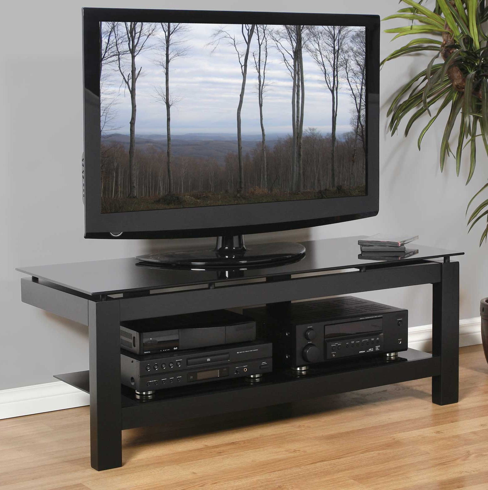 """Low Profile 50 Inch Tv Stand – Black In Tv Stands For Glass Shelves Tv Stands For Tvs Up To 50"""" (View 14 of 20)"""