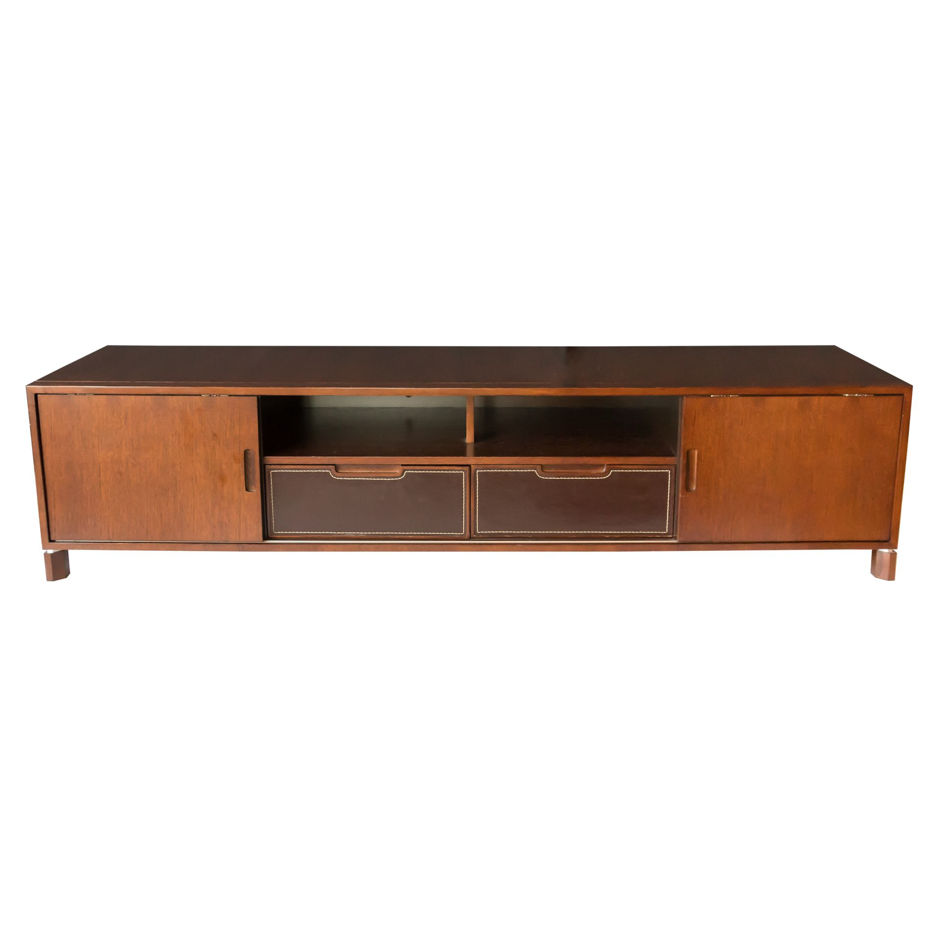 Low Profile Media Console Has A Dark Finish With Two Inside Dark Brown Tv Cabinets With 2 Sliding Doors And Drawer (View 15 of 20)