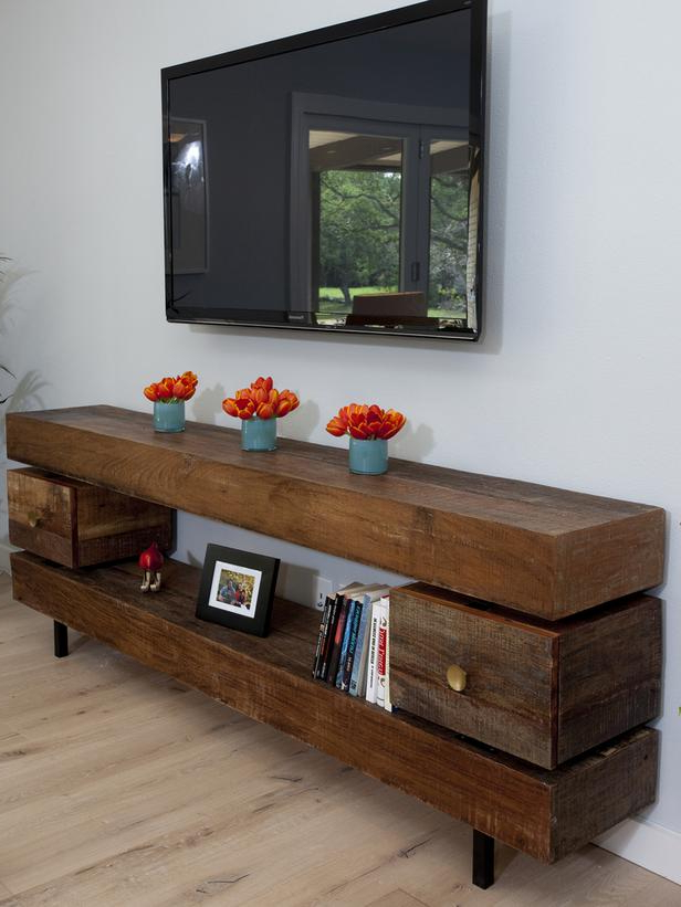 Low Profile Media Console, Optimize The Entertainment Room With Regard To Rustic Grey Tv Stand Media Console Stands For Living Room Bedroom (View 16 of 20)
