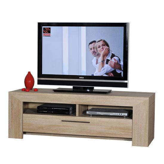Lucena Light Oak Finish Lcd Tv Stand With 2 Shelf And Intended For Tv Stands Cabinet Media Console Shelves 2 Drawers With Led Light (View 14 of 20)