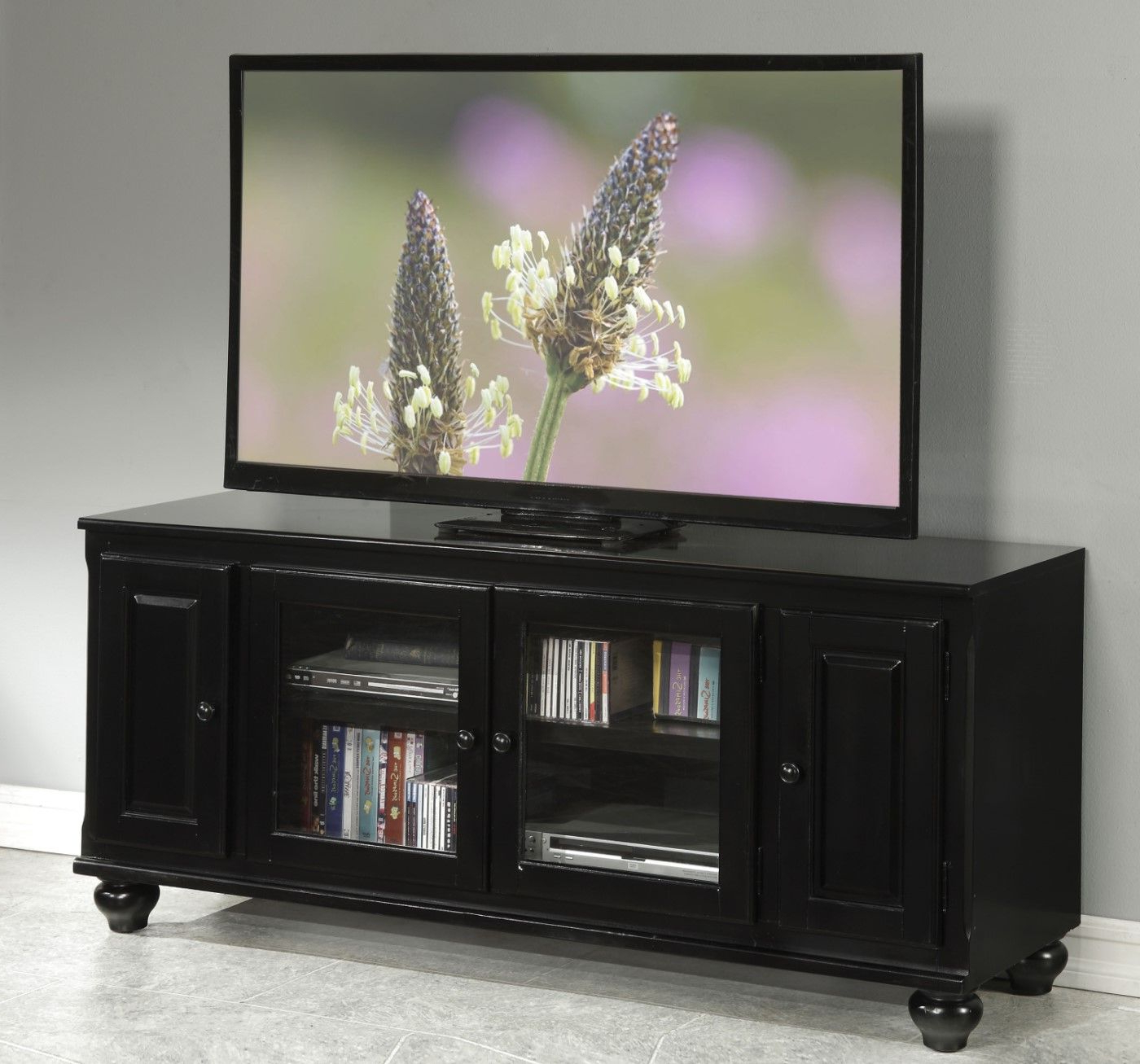 Luella Transitional Tv Stand With Glass Doors & Framed With Regard To Modern 2 Glass Door Corner Tv Stands (View 3 of 20)