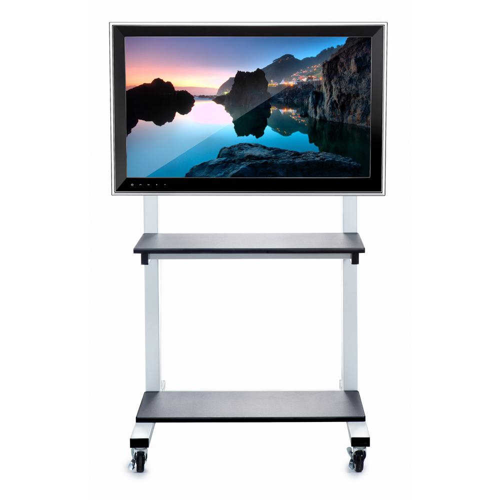 Luxor Crank Adjustable Flat Panel Tv Cart In White Clcd In Easyfashion Adjustable Rolling Tv Stands For Flat Panel Tvs (View 13 of 20)