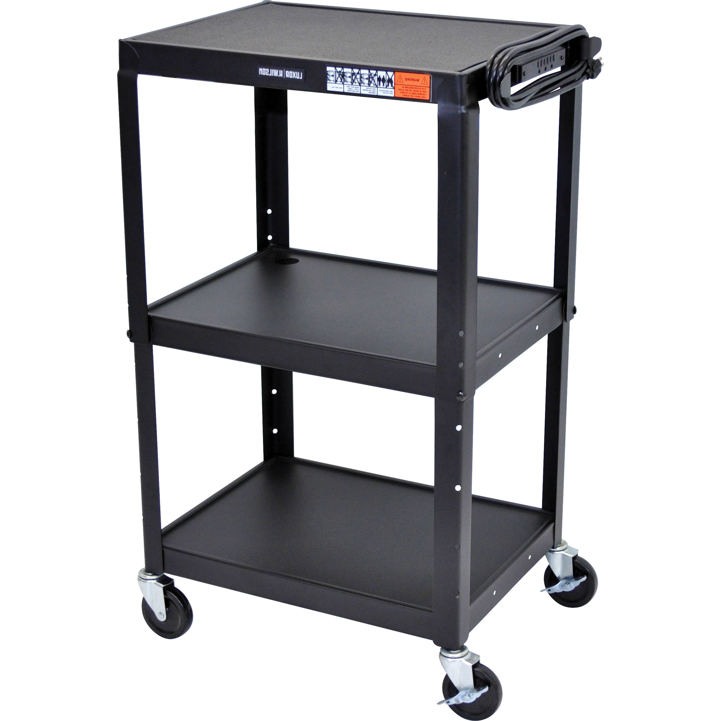 Luxor Steel Adjustable Height Av Cart With Three Shelves Avj42 In Rolling Tv Stands With Wheels With Adjustable Metal Shelf (View 12 of 20)