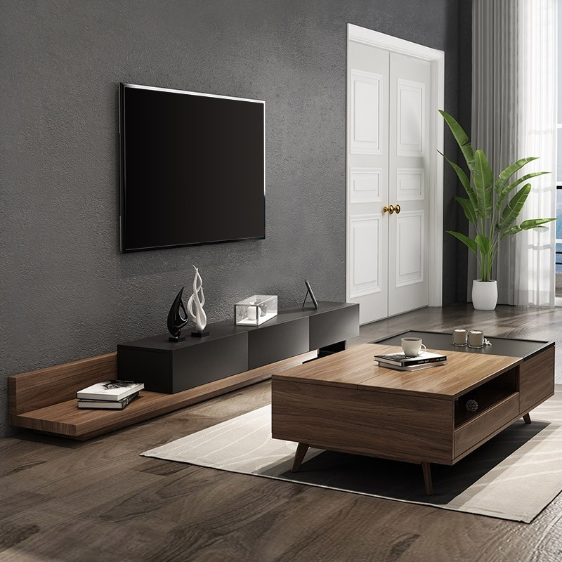 Luxury Rustic Black & Natural Extendable Tv Stand Media With Regard To Edgeware Black Tv Stands (View 12 of 20)