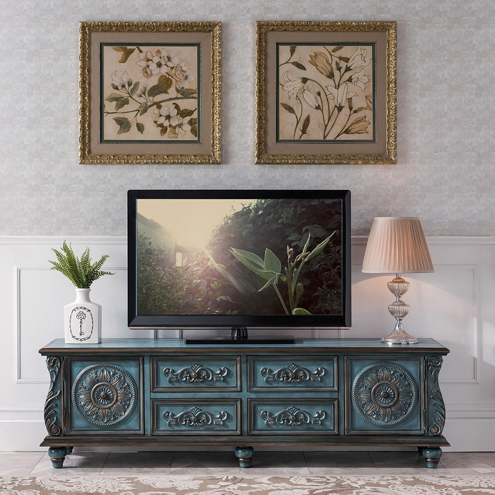 """Luxury Vintage 59"""" / 70"""" Tv Stand Distressed Carved Tv With Regard To Owen Retro Tv Unit Stands (View 17 of 20)"""
