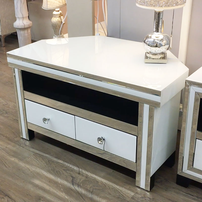 Madison White Mirrored Glass Corner 2 Drawer Tv Cabinet With Regard To Fitzgerald Mirrored Tv Stands (View 7 of 20)