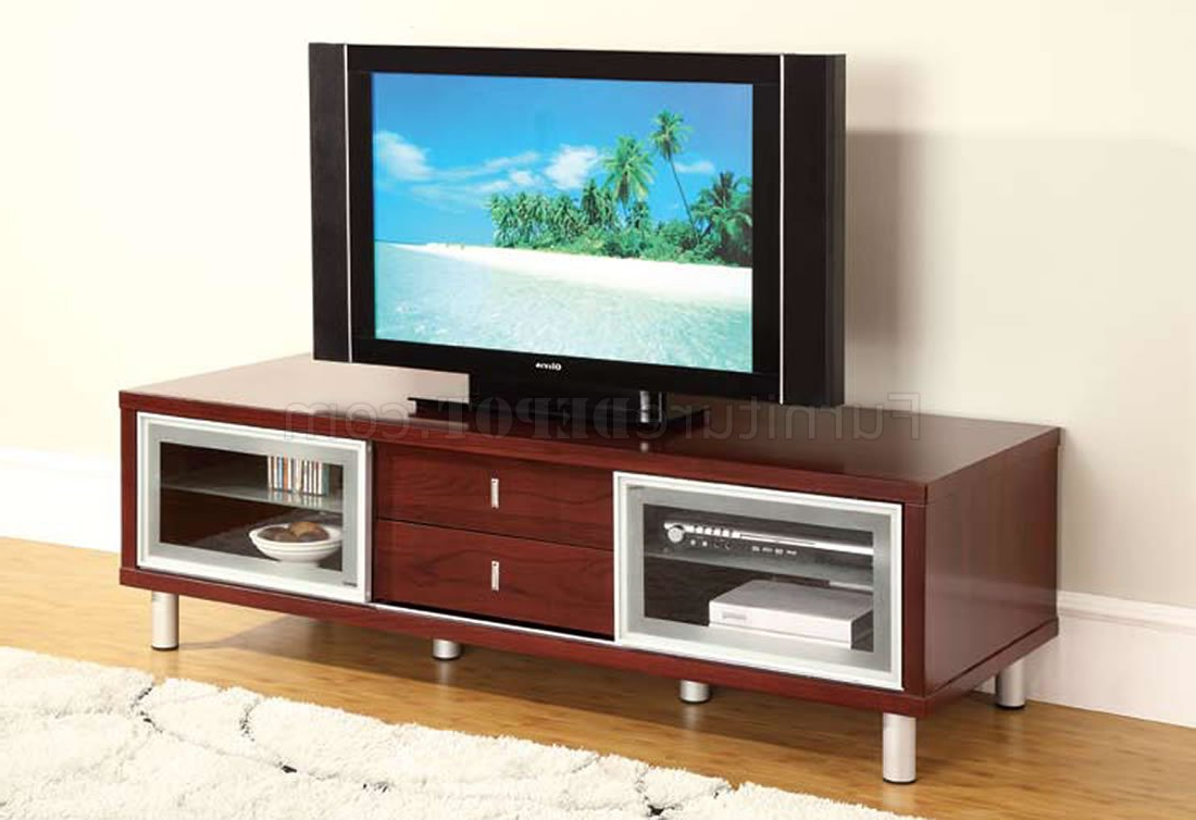 Mahogany Finish Contemporary Tv Stand With Cabinets For Tv Stands With Drawer And Cabinets (View 3 of 20)