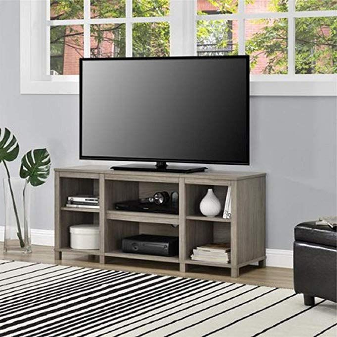 """Mainstay Parsons Cubby Tv Stand Holds Up To 50"""" Tv – Black Pertaining To Woven Paths Farmhouse Barn Door Tv Stands In Multiple Finishes (View 8 of 20)"""