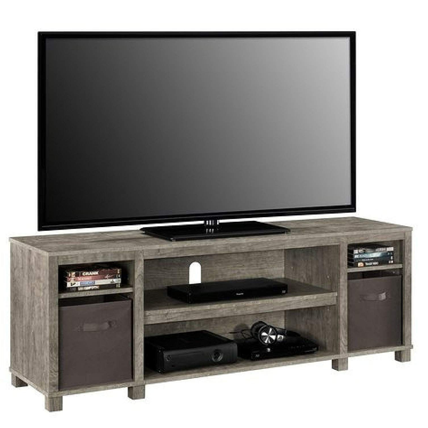 Mainstay Sleek Classic Design 65 Open Shelves Grey Tv Intended For Mainstays Tv Stands For Tvs With Multiple Colors (View 11 of 20)