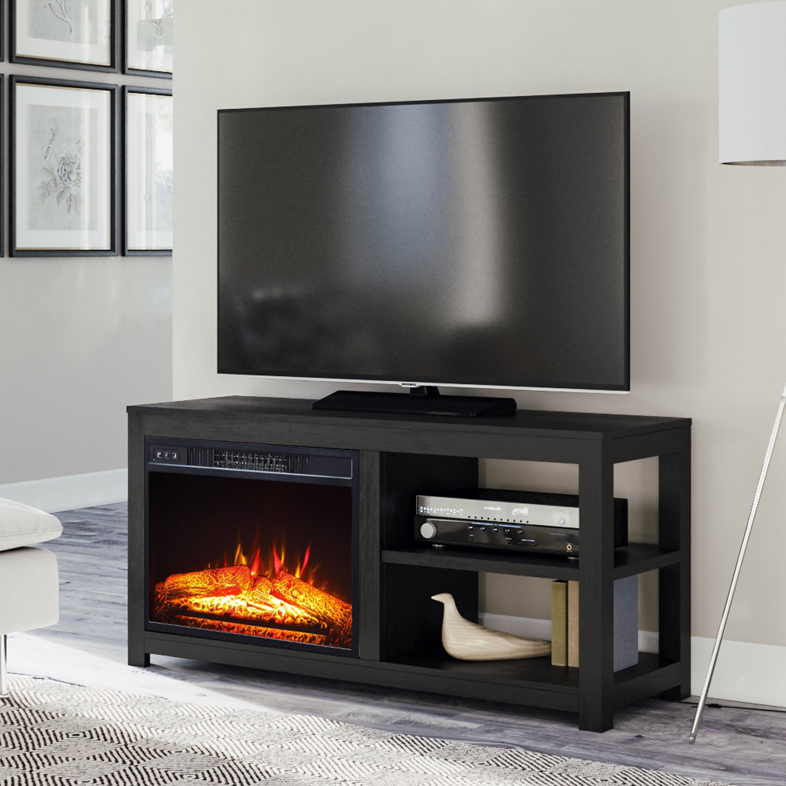 """Mainstays 2 Shelf Media Fireplace Tv Stand For Flat Panel Throughout Margulies Tv Stands For Tvs Up To 60"""" (View 1 of 20)"""