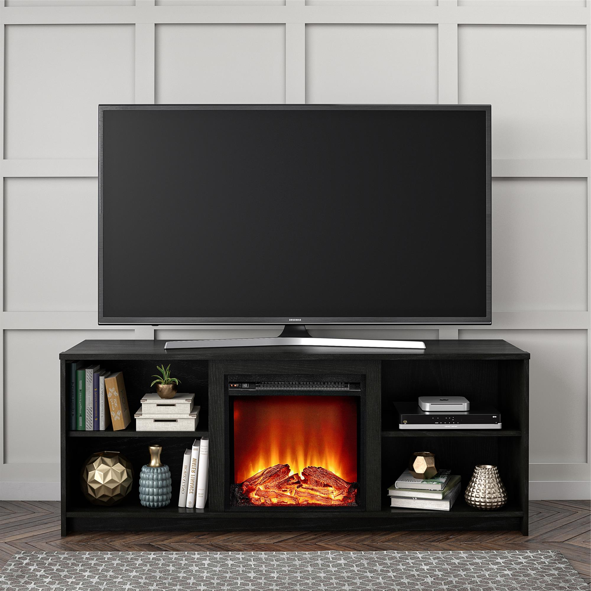 """Mainstays Fireplace Tv Stand For Tvs Up To 65"""", Black Oak Pertaining To Edgeware Black Tv Stands (View 9 of 20)"""