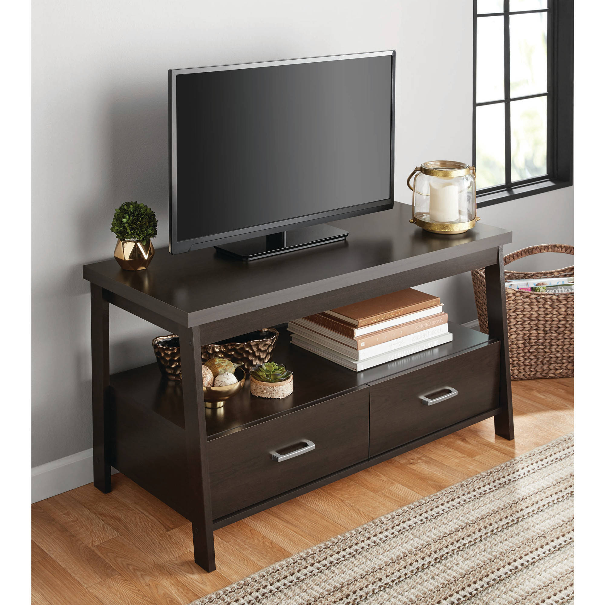 """Mainstays Logan Tv Stand For Tvs Up To 47"""" Multiple Throughout Tv Stands With Led Lights In Multiple Finishes (View 2 of 20)"""