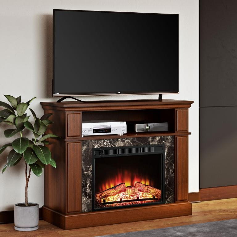 Mainstays Loring Media Fireplace For Tvs Up To 48″ And Intended For Mainstays Parsons Tv Stands With Multiple Finishes (View 17 of 20)
