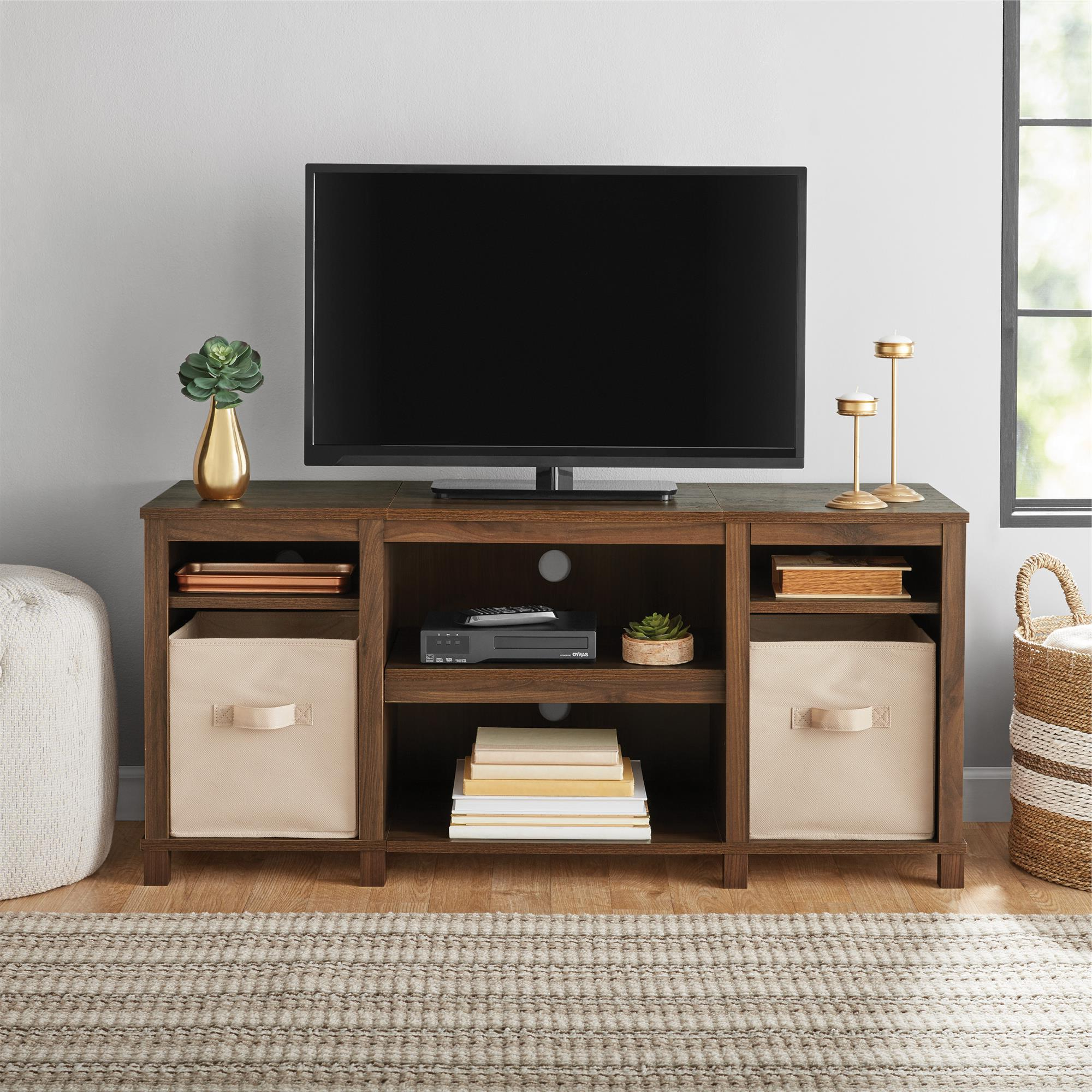 """Mainstays Parsons Cubby Tv Stand For Tvs Up To 50"""", Walnut In Allegra Tv Stands For Tvs Up To 50"""" (View 2 of 20)"""