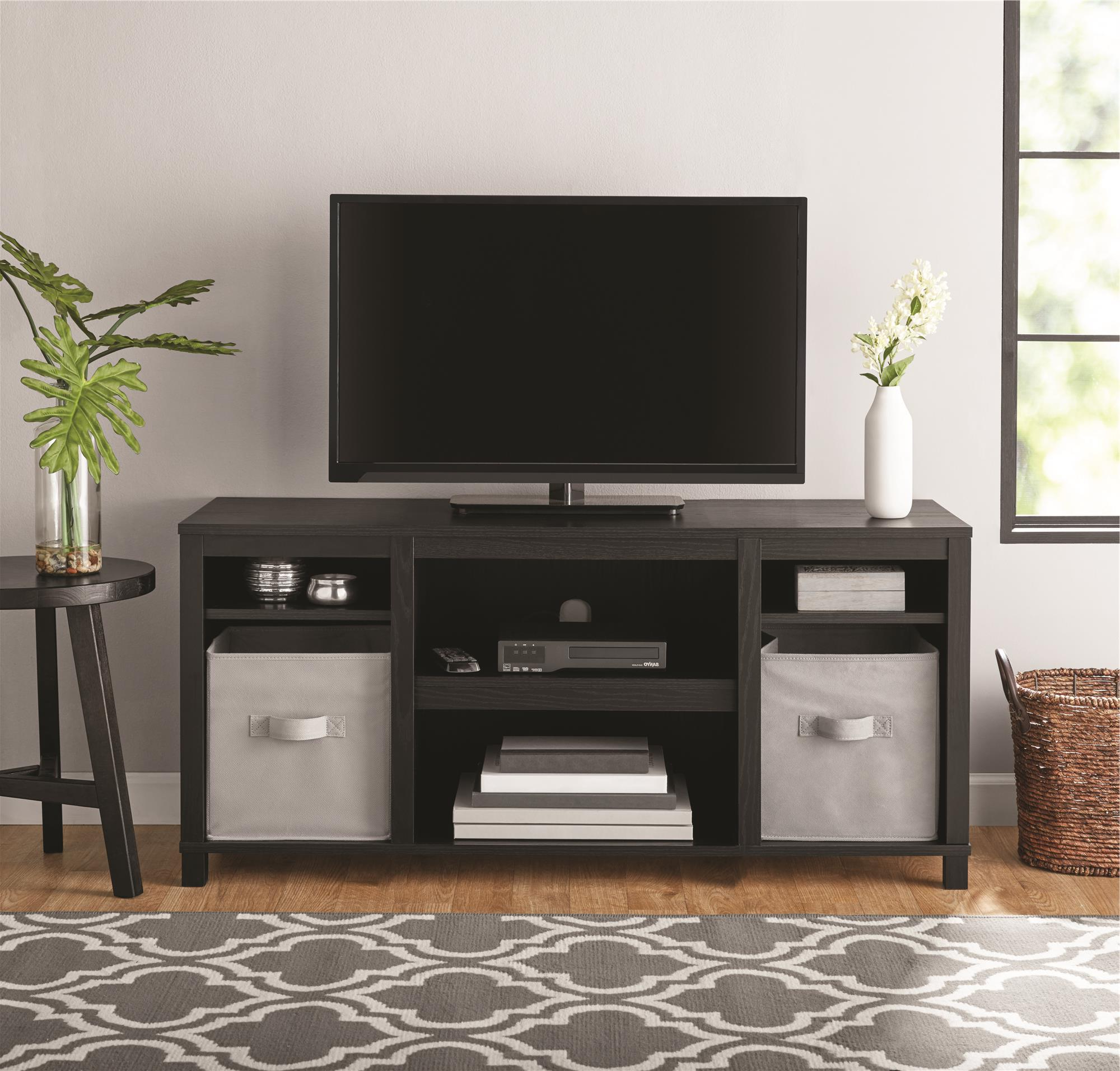 """Mainstays Parsons Tv Stand For Tvs Up To 50"""", True Black Throughout Tv Mount And Tv Stands For Tvs Up To 65"""" (View 11 of 20)"""