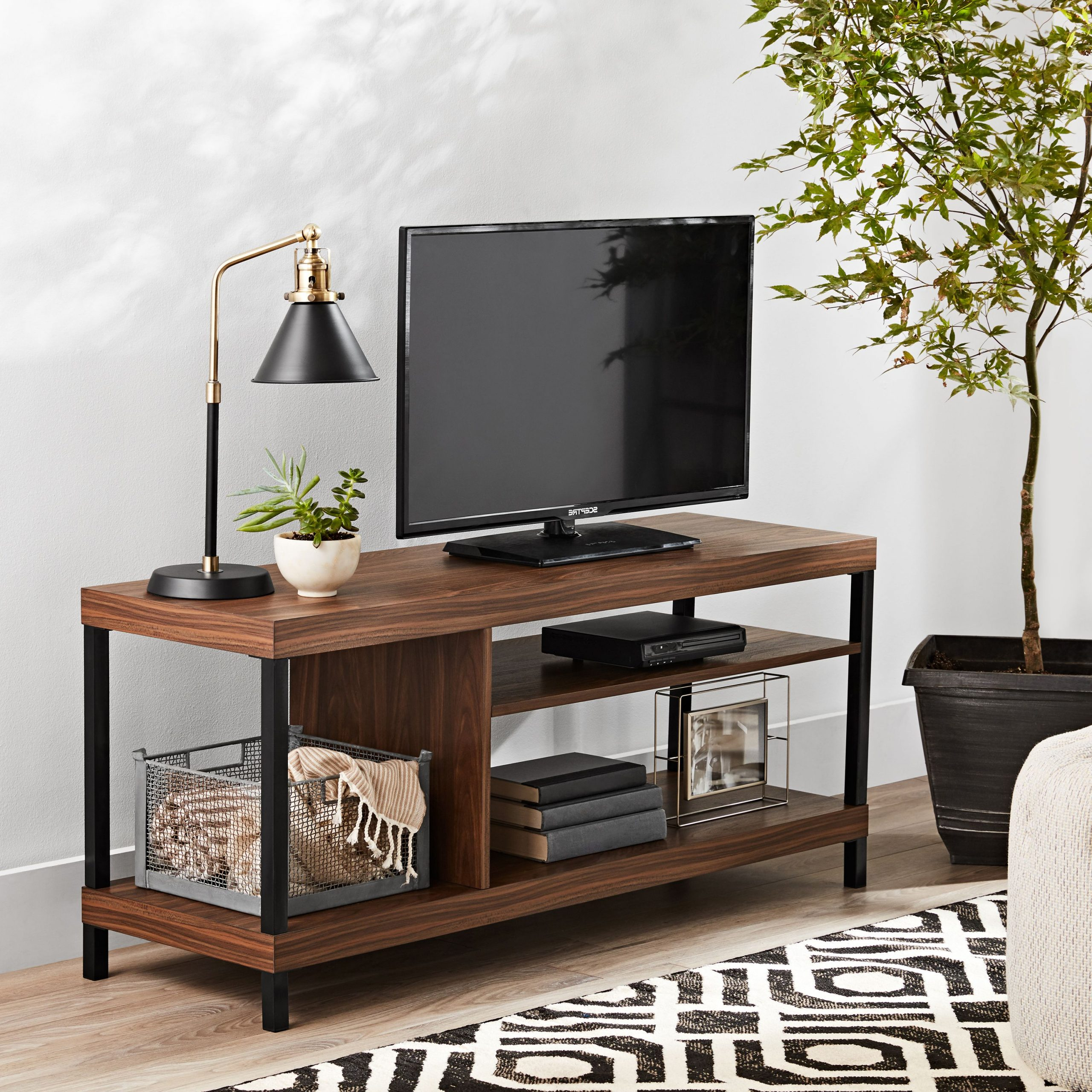 Mainstays Sumpter Park Collection Media Tv Stand For Tvs Intended For Mainstays Parsons Tv Stands With Multiple Finishes (View 7 of 20)