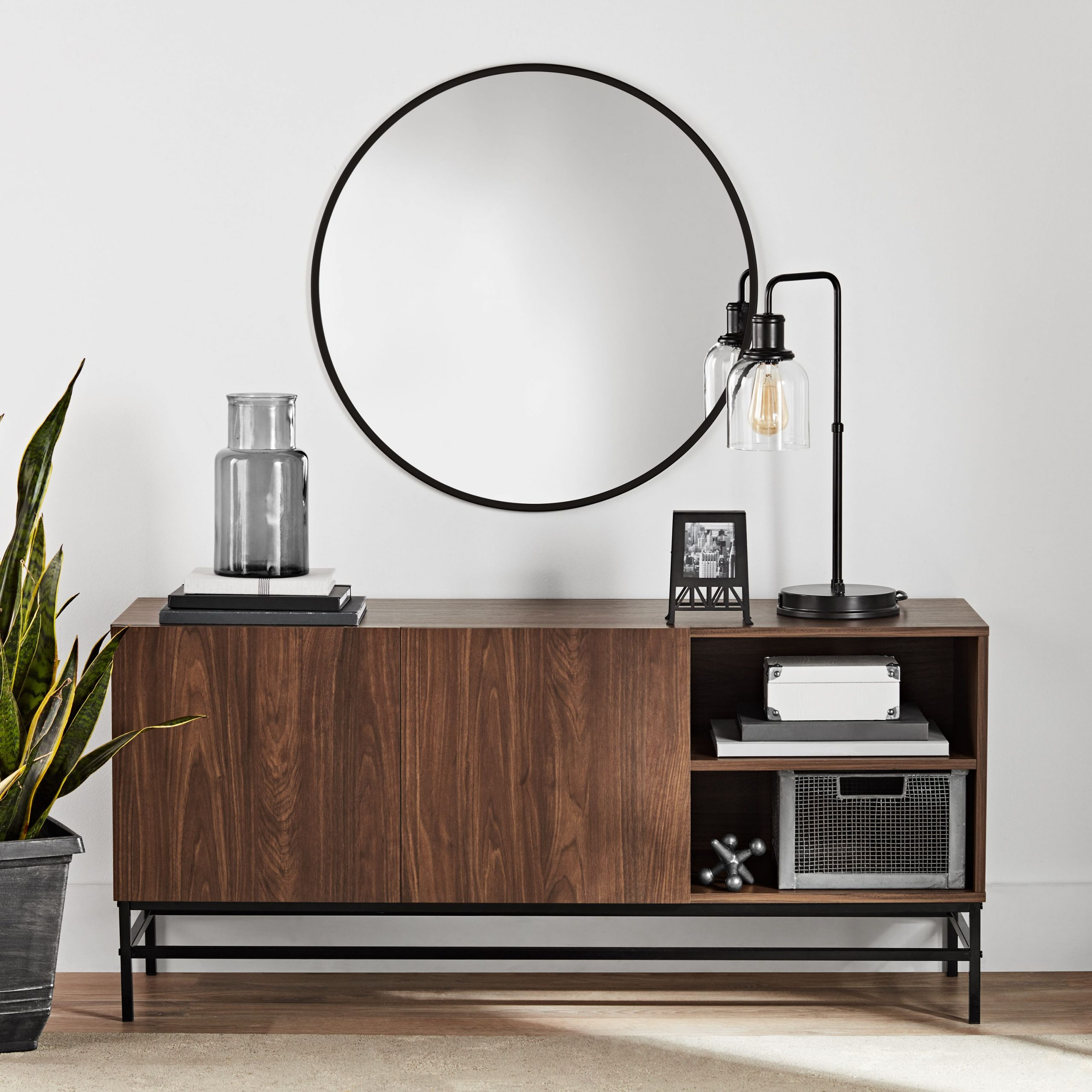 Mainstays Sumpter Park Console Table, Canyon Walnut Regarding Mainstays Parsons Tv Stands With Multiple Finishes (View 4 of 20)