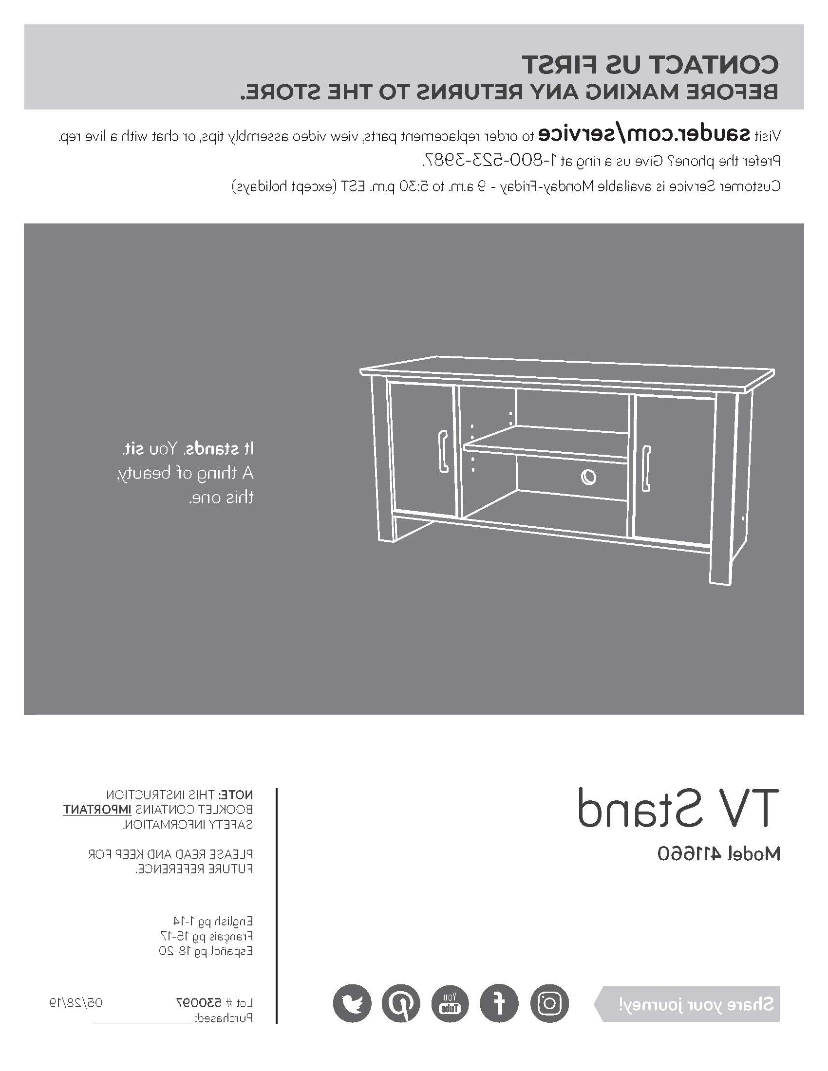 Mainstays Tv Stand Assembly Instructions Within Mainstays Parsons Tv Stands With Multiple Finishes (View 16 of 20)