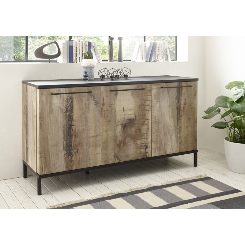Mango 156cm Three Doors Sideboard In Black And Canyon Oak Intended For Canyon Oak Tv Stands (View 7 of 20)