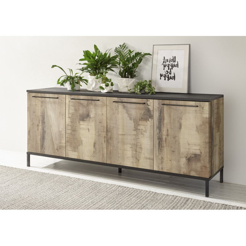 Mango Ii 207cm Sideboard In Black And Canyon Oak Finish Intended For Canyon Oak Tv Stands (View 6 of 20)