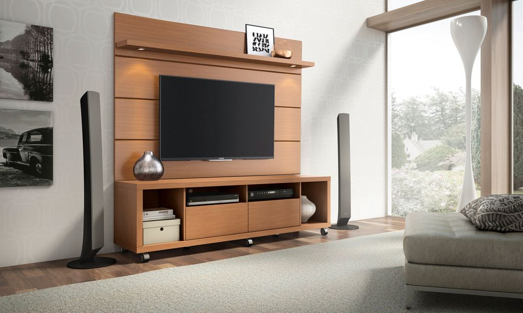 Manhattan Comfort Cabrini Tv Stand And Floating Wall Tv Pertaining To Milano White Tv Stands With Led Lights (View 16 of 20)