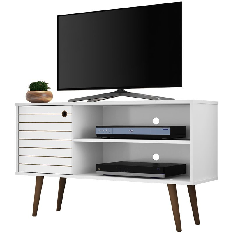 """Manhattan Comfort Liberty 43"""" Tv Stand In White   Ebay With Mathew Tv Stands For Tvs Up To 43"""" (View 14 of 20)"""