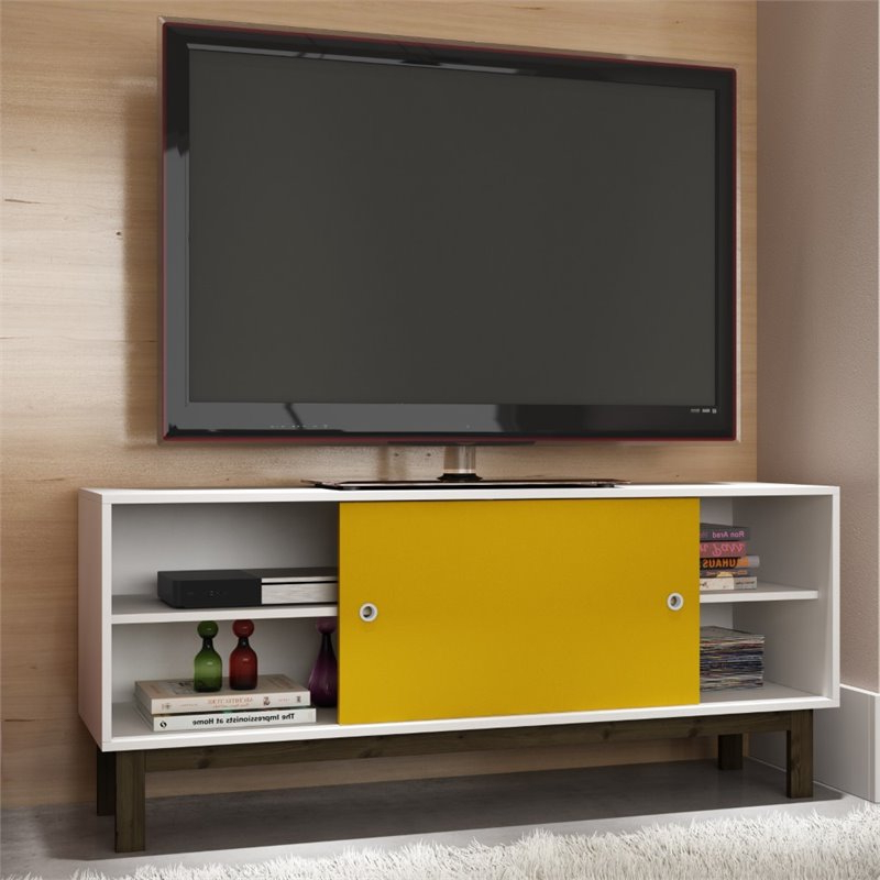 Manhattan Comfort Solna Splayed Leg Tv Stand In White And Intended For Manhattan Compact Tv Unit Stands (View 14 of 20)