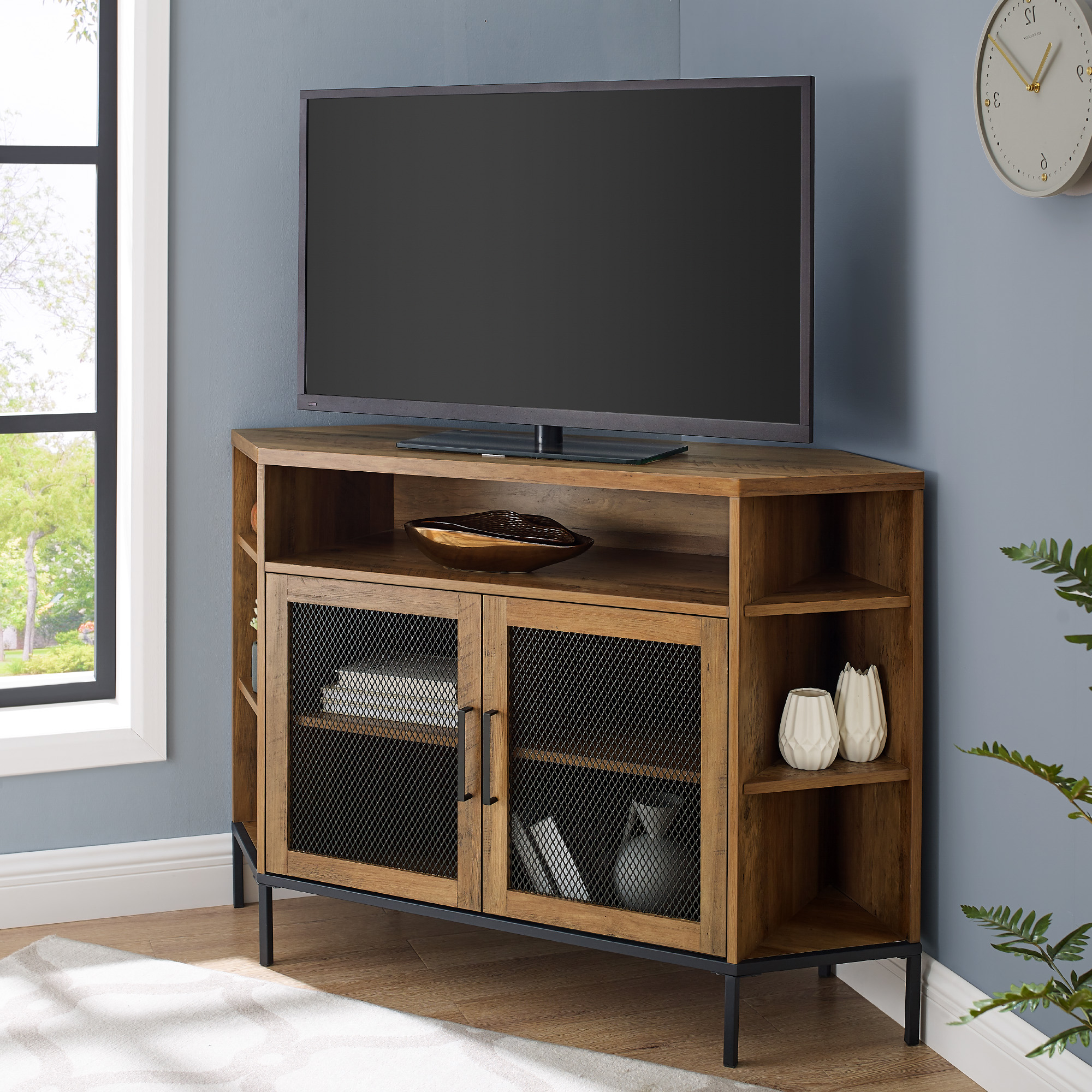 """Manor Park 48 Inch Corner Tv Stand For Tvs Up To 55 Inside Corner Tv Stands For Tvs Up To 48"""" Mahogany (View 1 of 20)"""