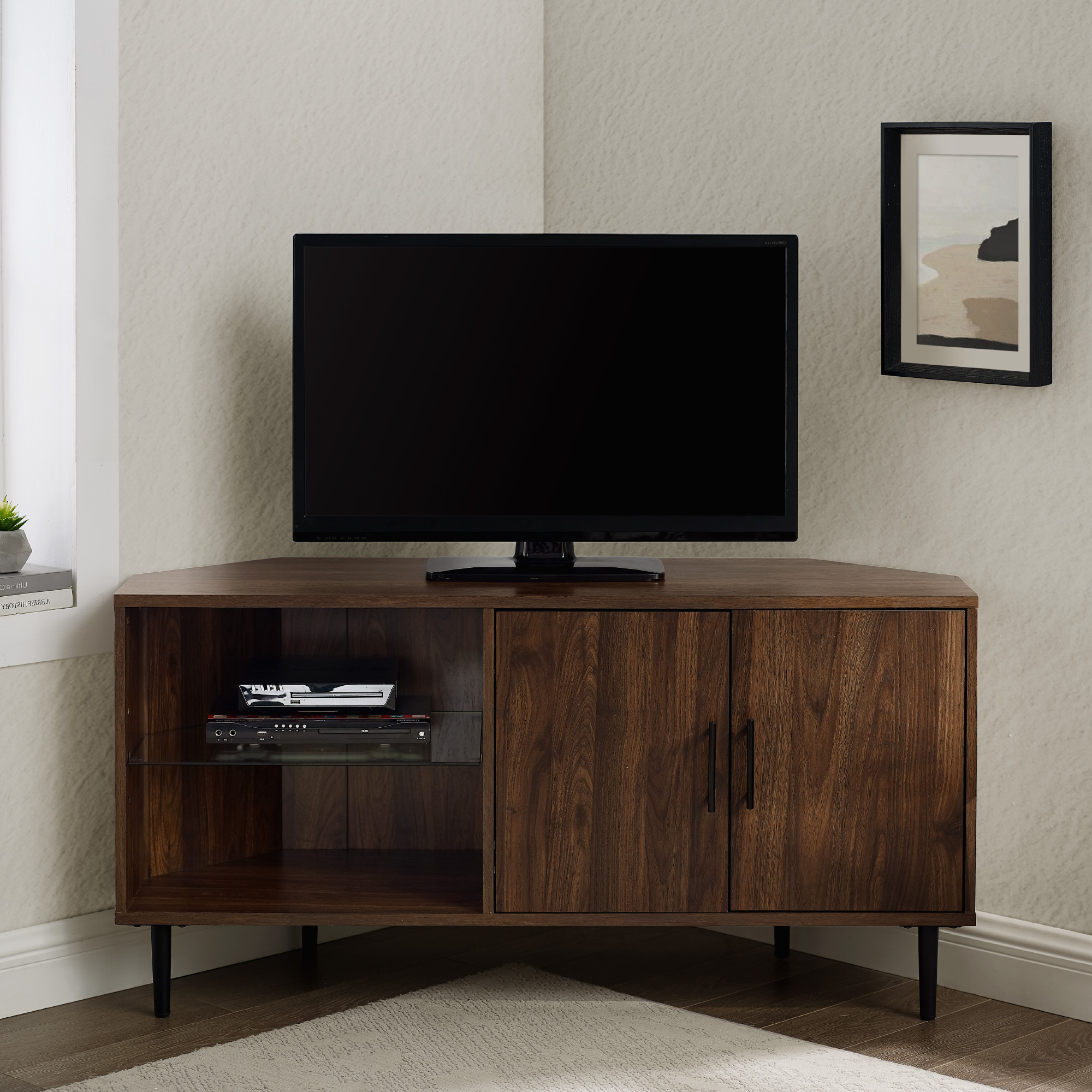 """Manor Park Basie 2 Door Corner Tv Stand For Tvs Up To 55 Inside Baba Tv Stands For Tvs Up To 55"""" (View 9 of 20)"""