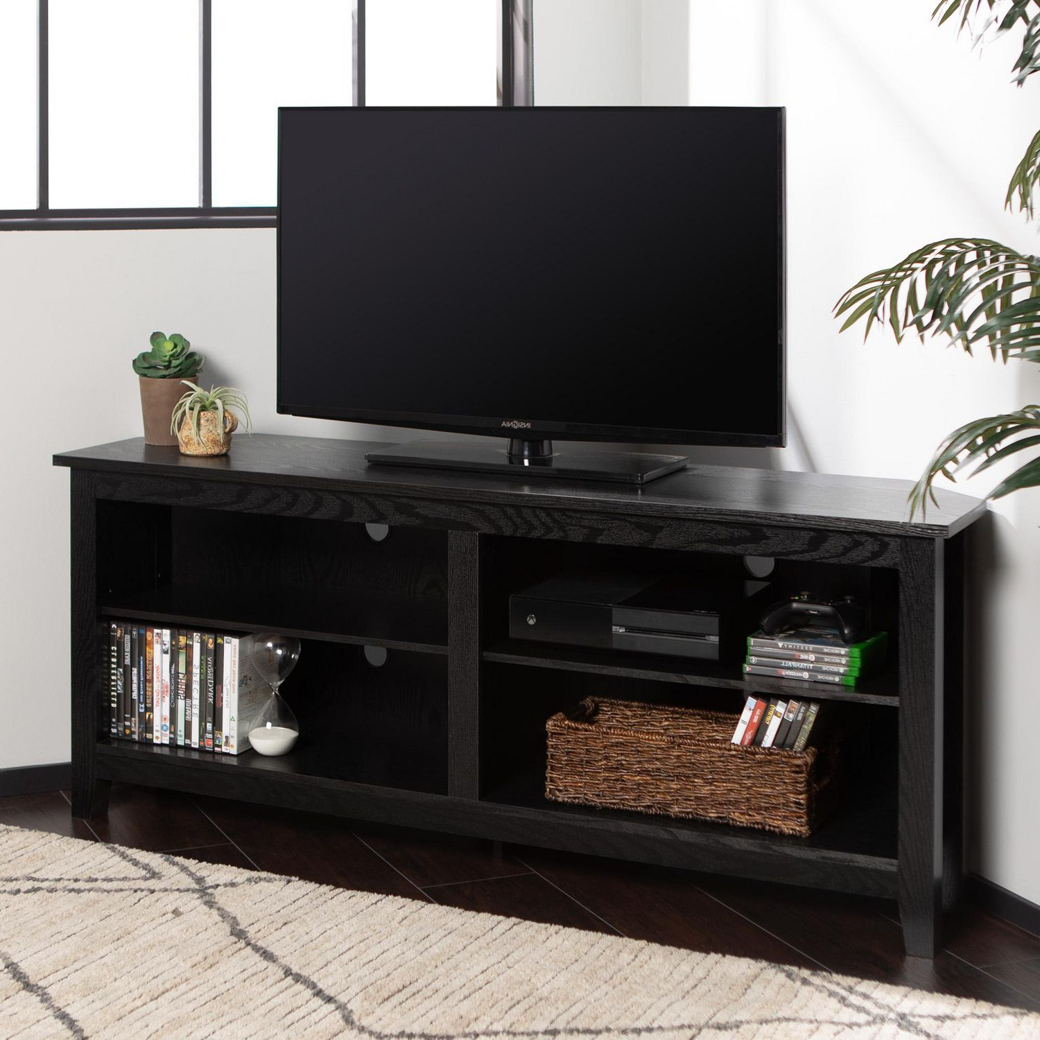 """Manor Park Corner Media Storage Tv Stand For Tv's Up To 60 Intended For Corner Tv Stands For Tvs Up To 43"""" Black (View 4 of 20)"""