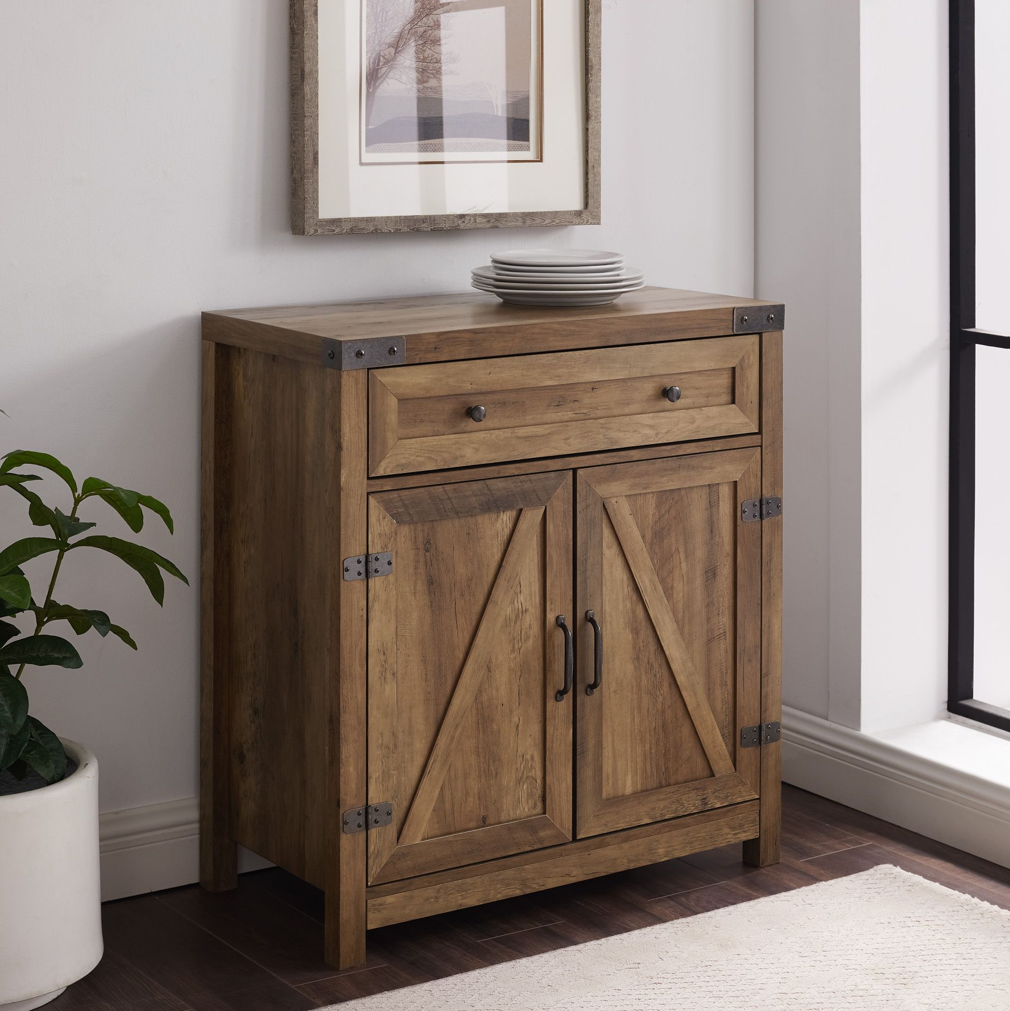 Manor Park Farmhouse Barn Door Accent Cabinet Reclaimed For Woven Paths Farmhouse Sliding Barn Door Tv Stands With Multiple Finishes (View 7 of 14)