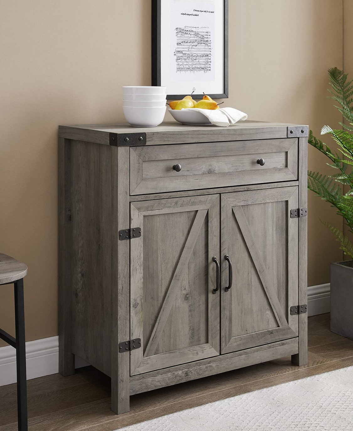Manor Park Farmhouse Barn Door Accent Cabinet Reclaimed Inside Woven Paths Open Storage Tv Stands With Multiple Finishes (View 15 of 20)