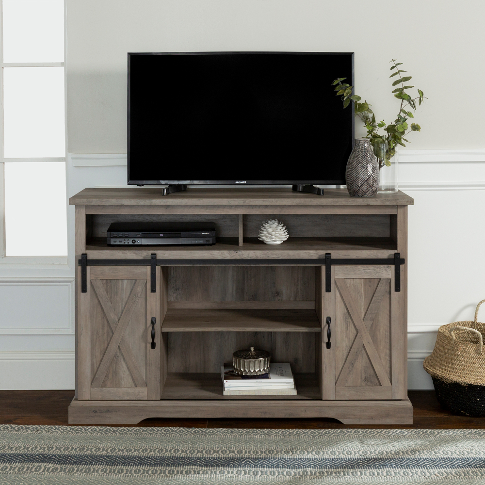 Manor Park Farmhouse Barn Door Tv Stand For Tvs Up To 58 Throughout Robinson Rustic Farmhouse Sliding Barn Door Corner Tv Stands (View 6 of 20)
