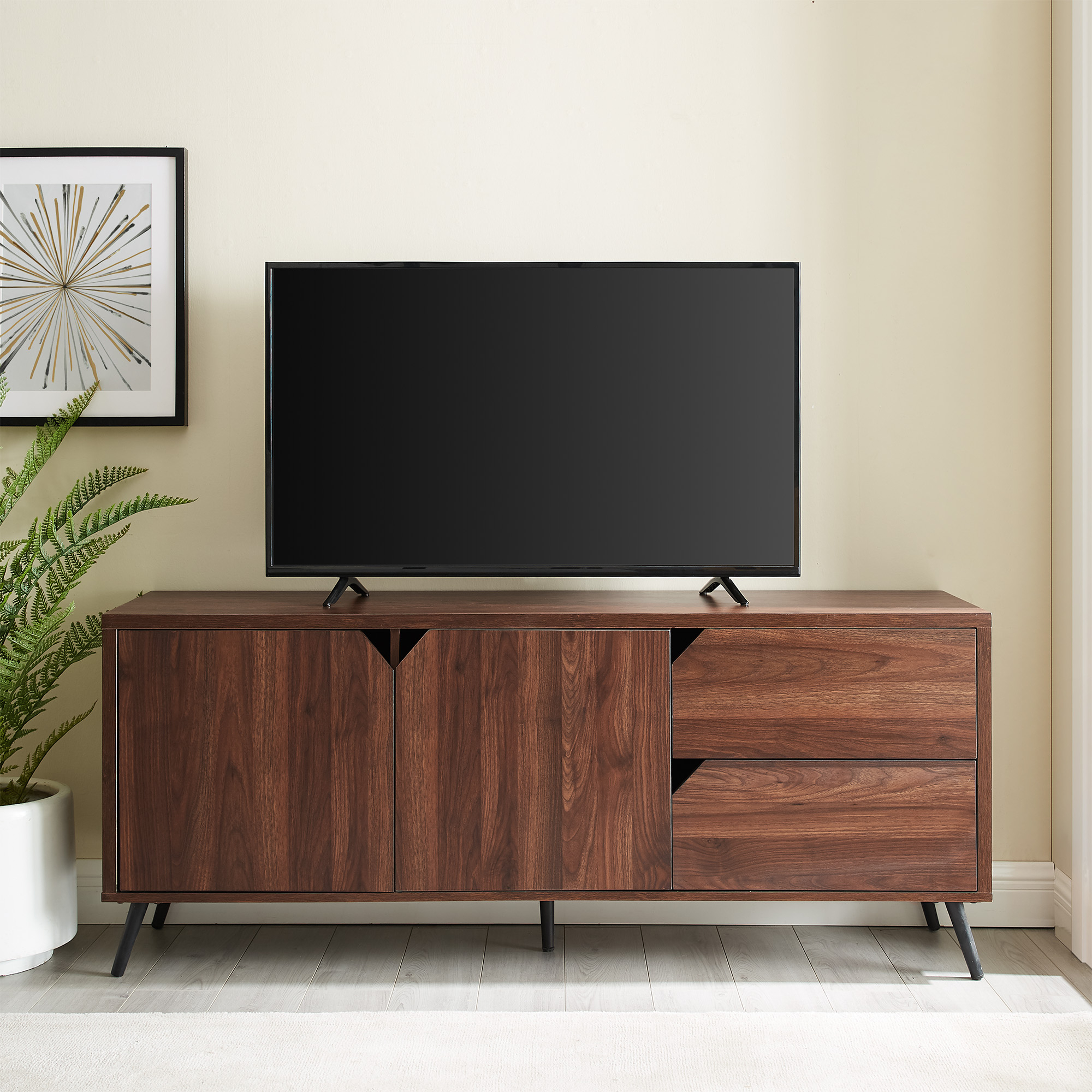 """Manor Park Mid Century Tv Stand For Tvs Up To 65"""", Dark Regarding Tv Mount And Tv Stands For Tvs Up To 65"""" (View 10 of 20)"""