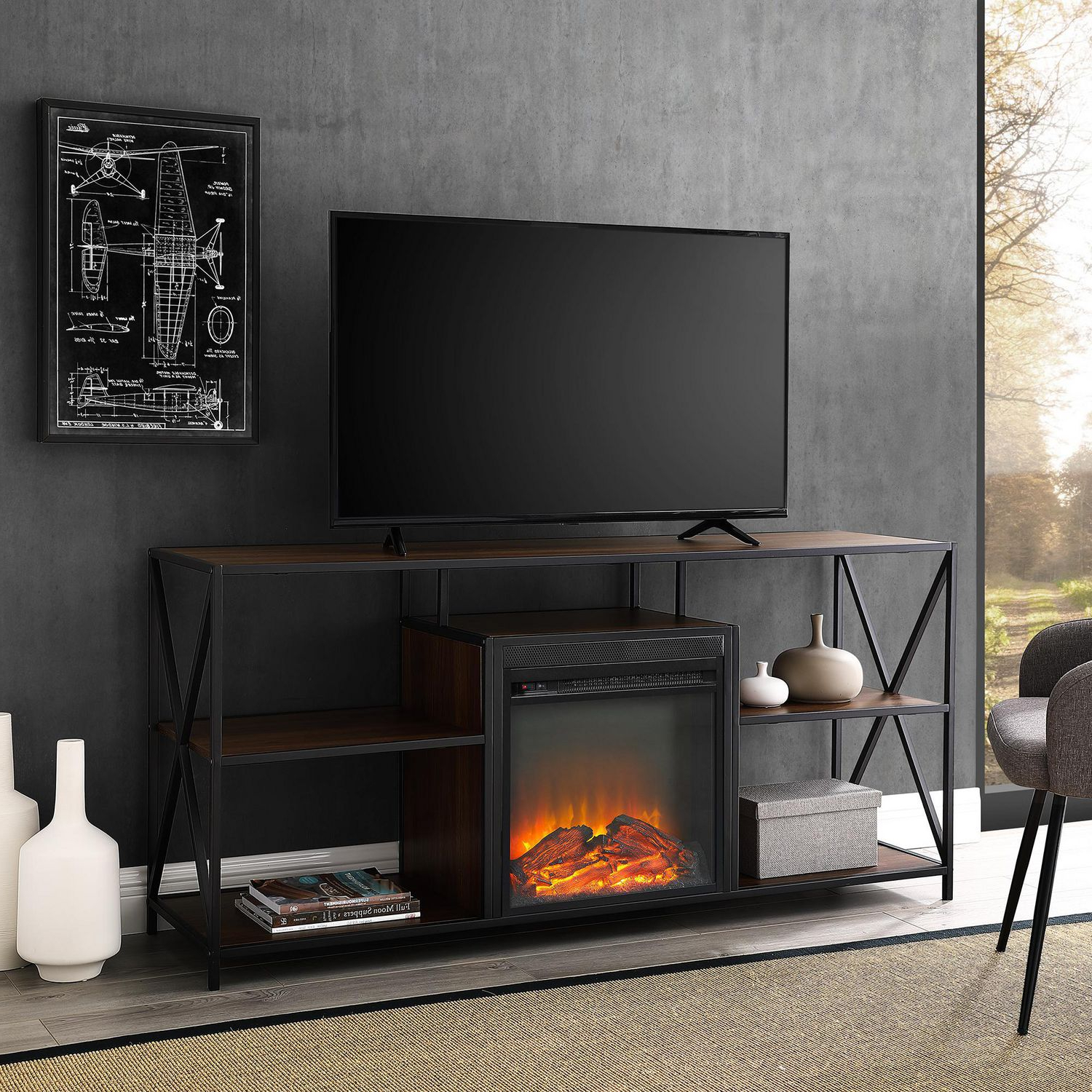 Manor Park Modern Industrial Fireplace Tv Stand For Tv's In Tv Stands With Led Lights In Multiple Finishes (View 15 of 20)