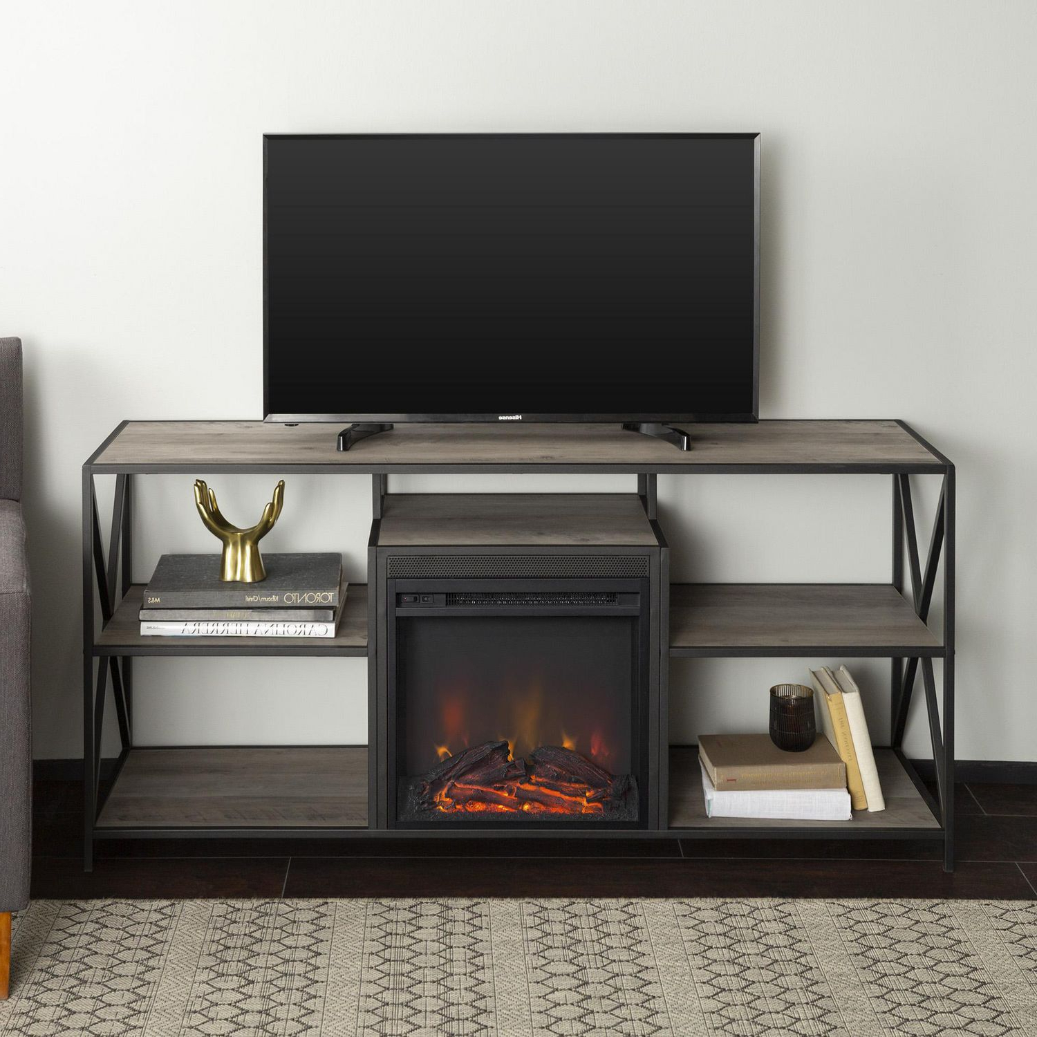 Manor Park Modern Industrial Fireplace Tv Stand For Tv's Throughout Tv Stands With Led Lights In Multiple Finishes (View 3 of 20)