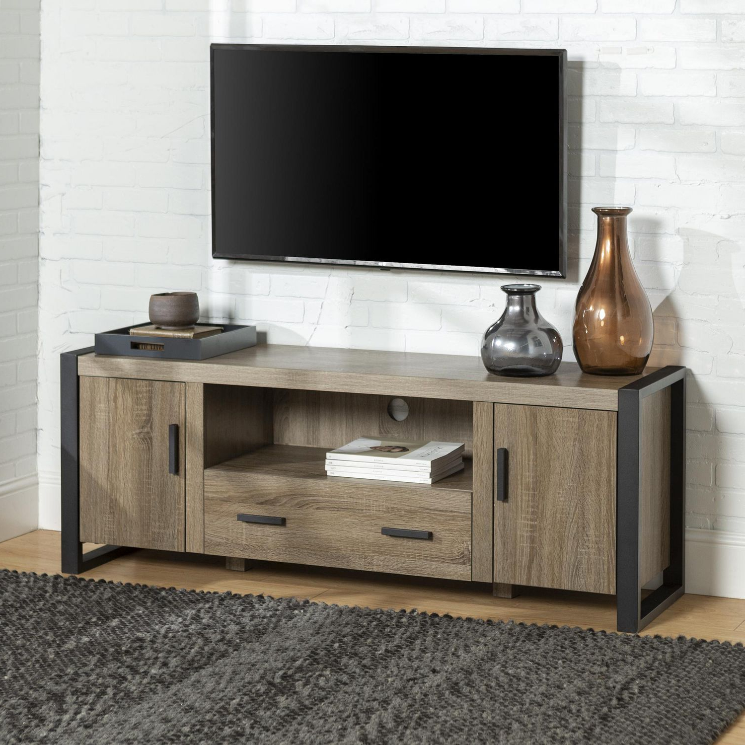 Manor Park Modern Industrial Tv Stand – Multiple Finishes With Tv Stands With Led Lights In Multiple Finishes (View 4 of 20)