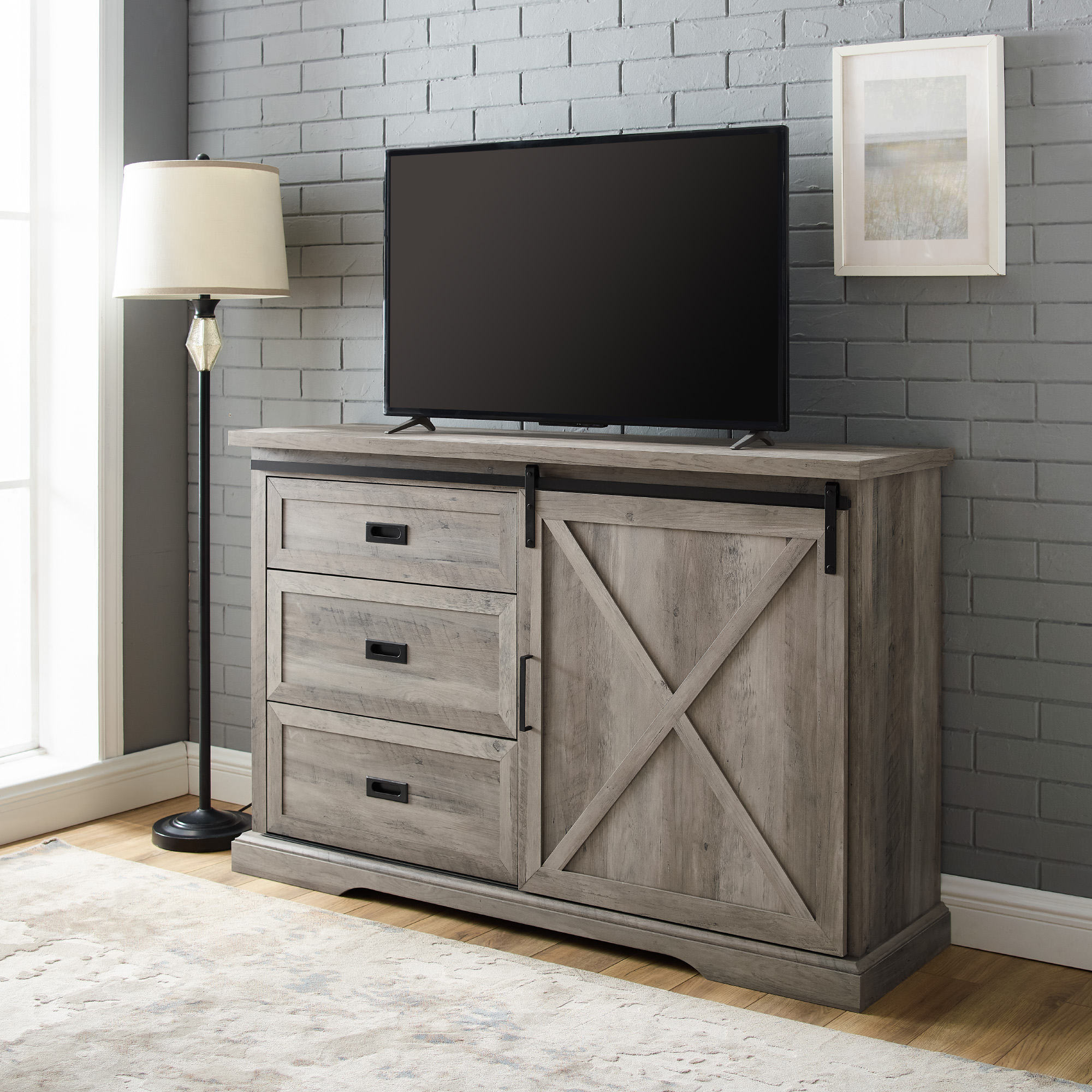 """Manor Park Sliding Door Tv Stand For Tvs Up To 60"""", Grey With Camden Corner Tv Stands For Tvs Up To 60"""" (View 10 of 20)"""