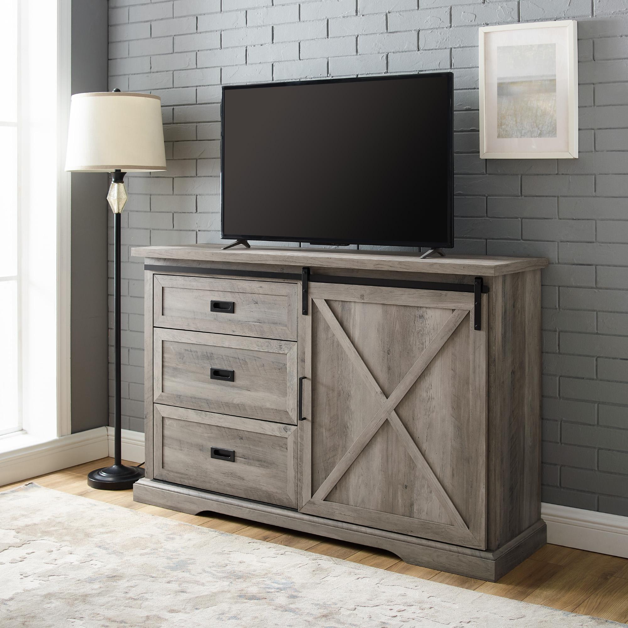 """Manor Park Sliding Door Tv Stand For Tvs Up To 60"""", Grey Within Modern 2 Glass Door Corner Tv Stands (View 6 of 20)"""