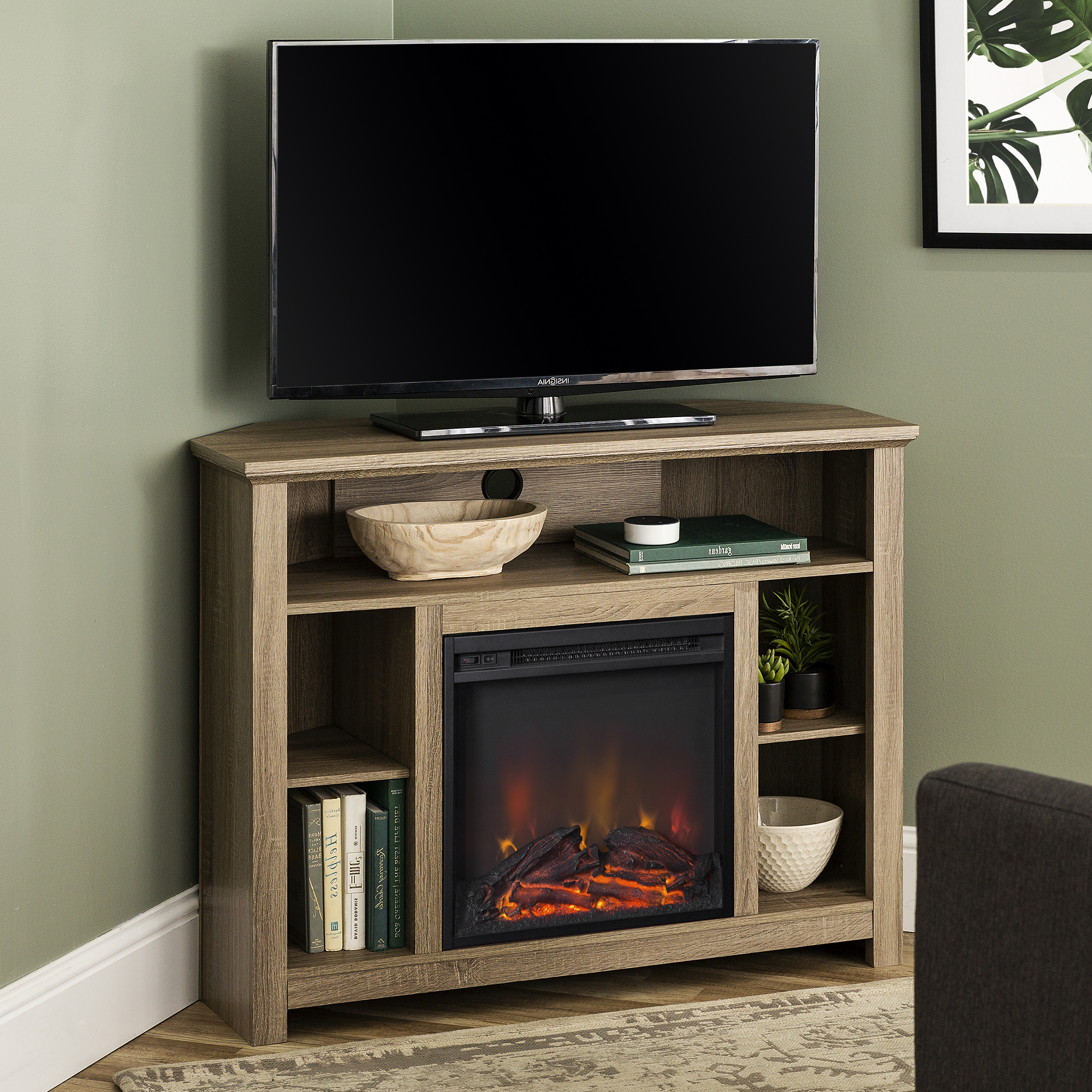 """Manor Park Tall Corner Fireplace Tv Stand For Tvs Up To 50 Regarding Allegra Tv Stands For Tvs Up To 50"""" (View 4 of 20)"""