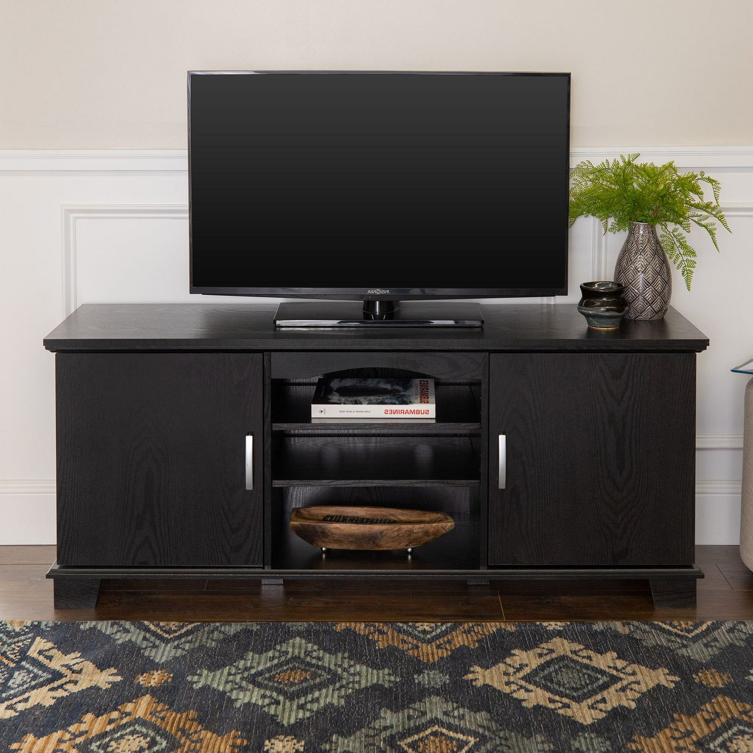 Manor Park Traditional Tv Stand With Storage For Tv's Up With Regard To Edgeware Black Tv Stands (View 1 of 20)