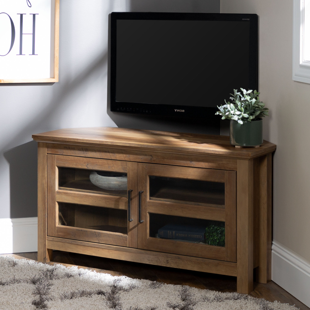"""Manor Park Wood Corner Tv Stand For Tvs Up To 48"""" – Rustic With Woven Paths Open Storage Tv Stands With Multiple Finishes (View 6 of 20)"""