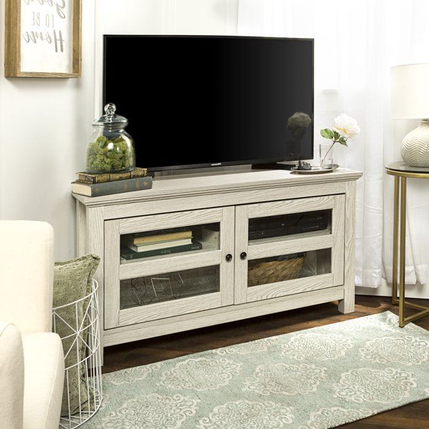 """Manor Park Wood Corner Tv Stand For Tvs Up To 48"""" – White Pertaining To Lionel Corner Tv Stands For Tvs Up To 48"""" (View 16 of 20)"""