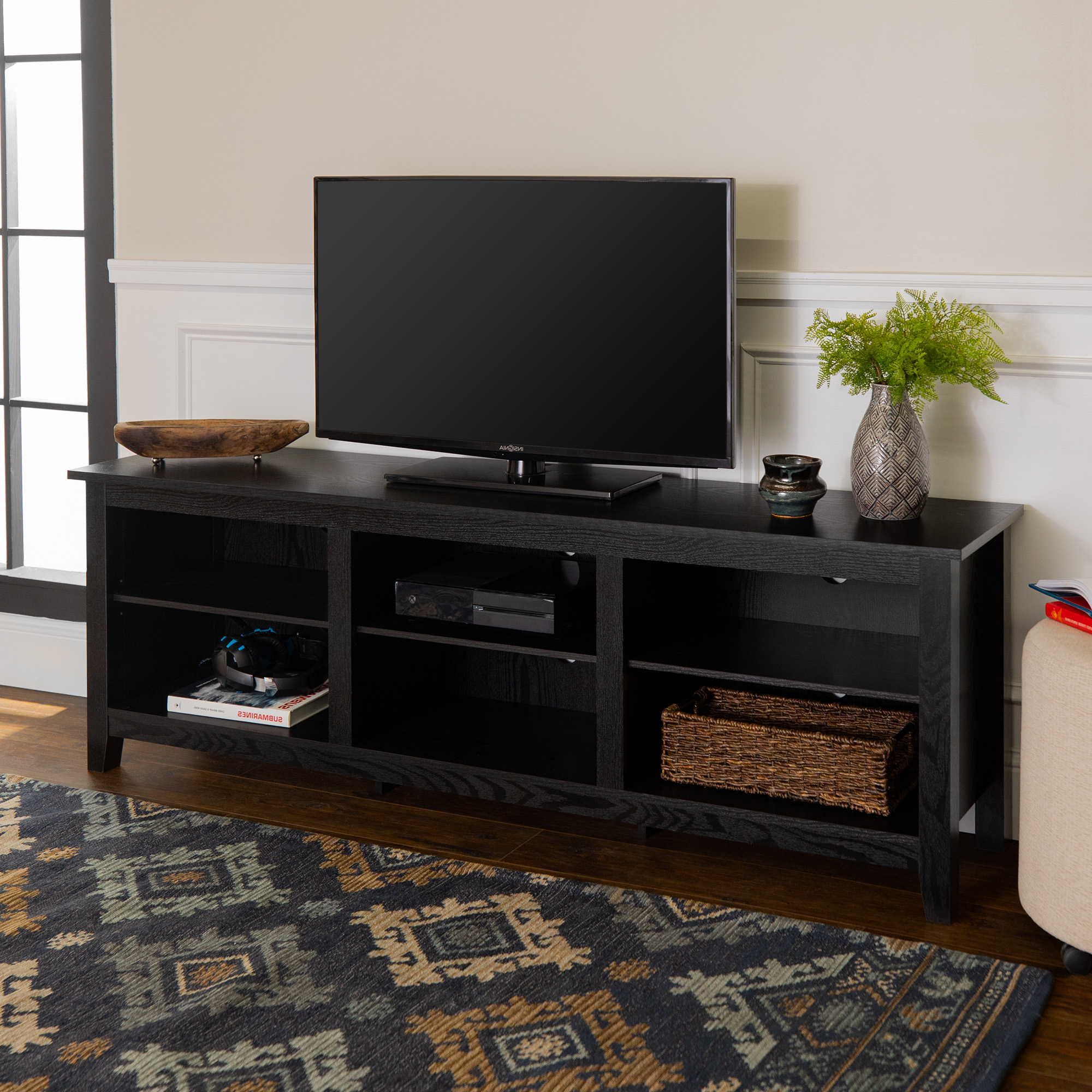 Manor Park Wood Tv Media Storage Stand For Tvs Up To 78 With Farmhouse Woven Paths Glass Door Tv Stands (View 1 of 20)