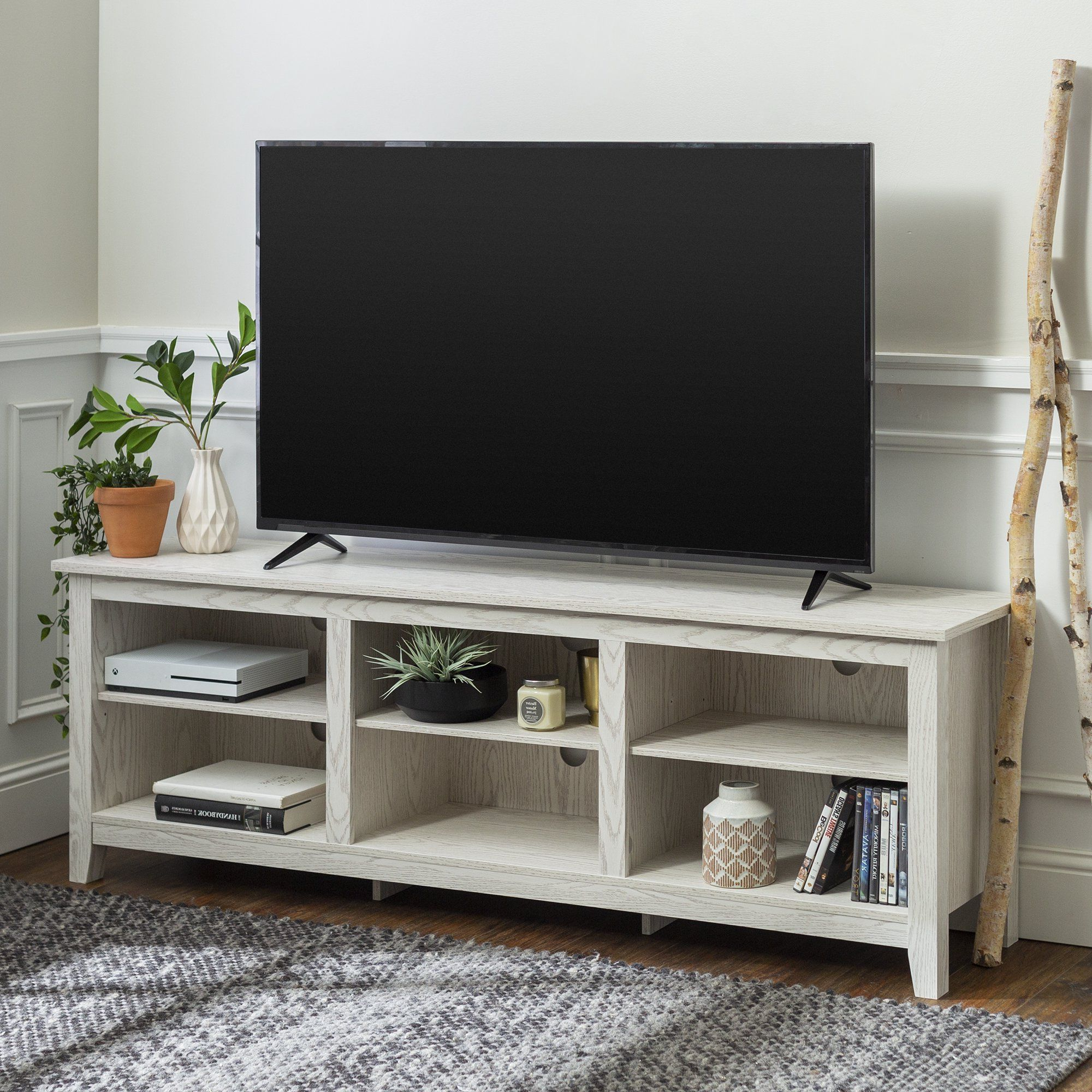 Manor Park Wood Tv Media Storage Stand For Tvs Up To 78 With Woven Paths Open Storage Tv Stands With Multiple Finishes (View 5 of 20)