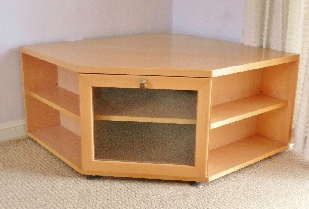 Maple Effect Tv / Television Corner Unit / Cabinet Stand Intended For Fulton Oak Effect Corner Tv Stands (View 5 of 20)